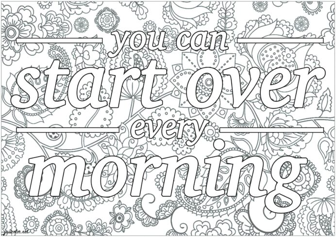 free printable adult coloring quotes everfreecoloring start over in the morning scaled coloring pages Quotes Coloring Page
