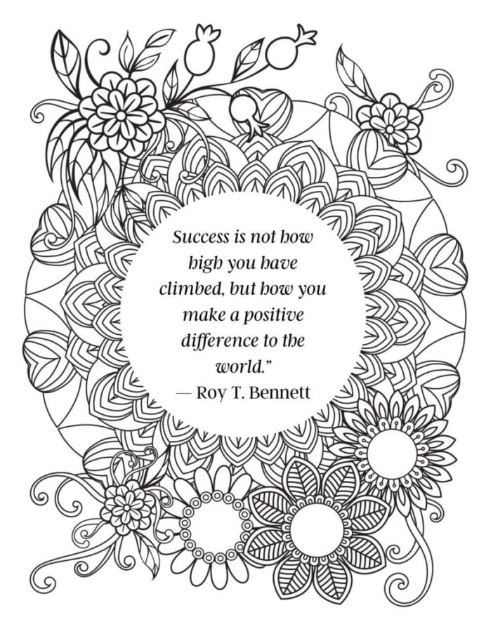 free printable adult coloring with inspirational quotes success is 791x1024 party time coloring pages Inspirational Coloring Page