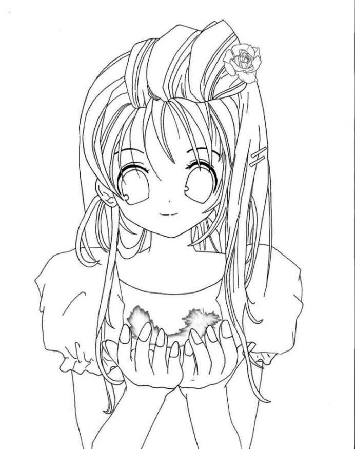 free printable anime girl coloring everfreecoloring full body cute cr06 crayola coloring pages Anime Girl Coloring Page Full Body