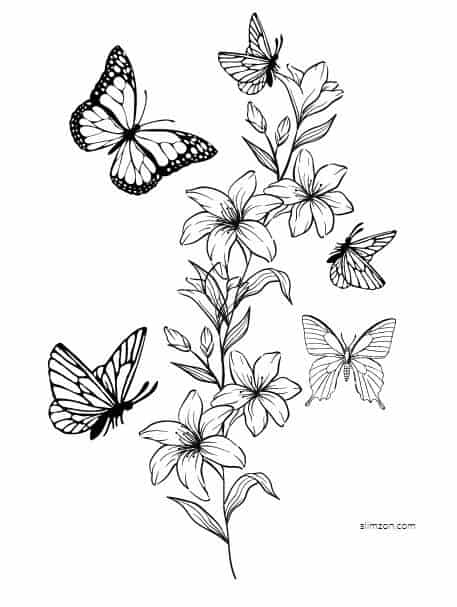 free printable butterfly coloring and templates butterflies flowers pdf diy kits for kids coloring pages Butterflies Coloring Page