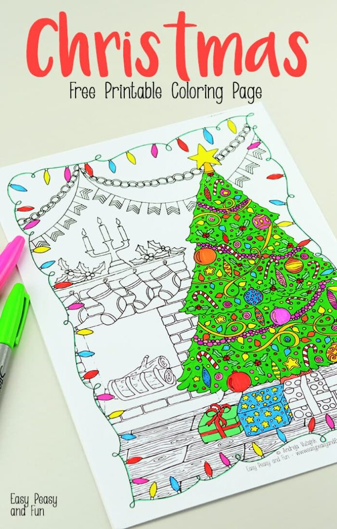 free printable christmas coloring easy peasy and fun for kids detailed page1 flow tide coloring pages Christmas Coloring Page For Kids
