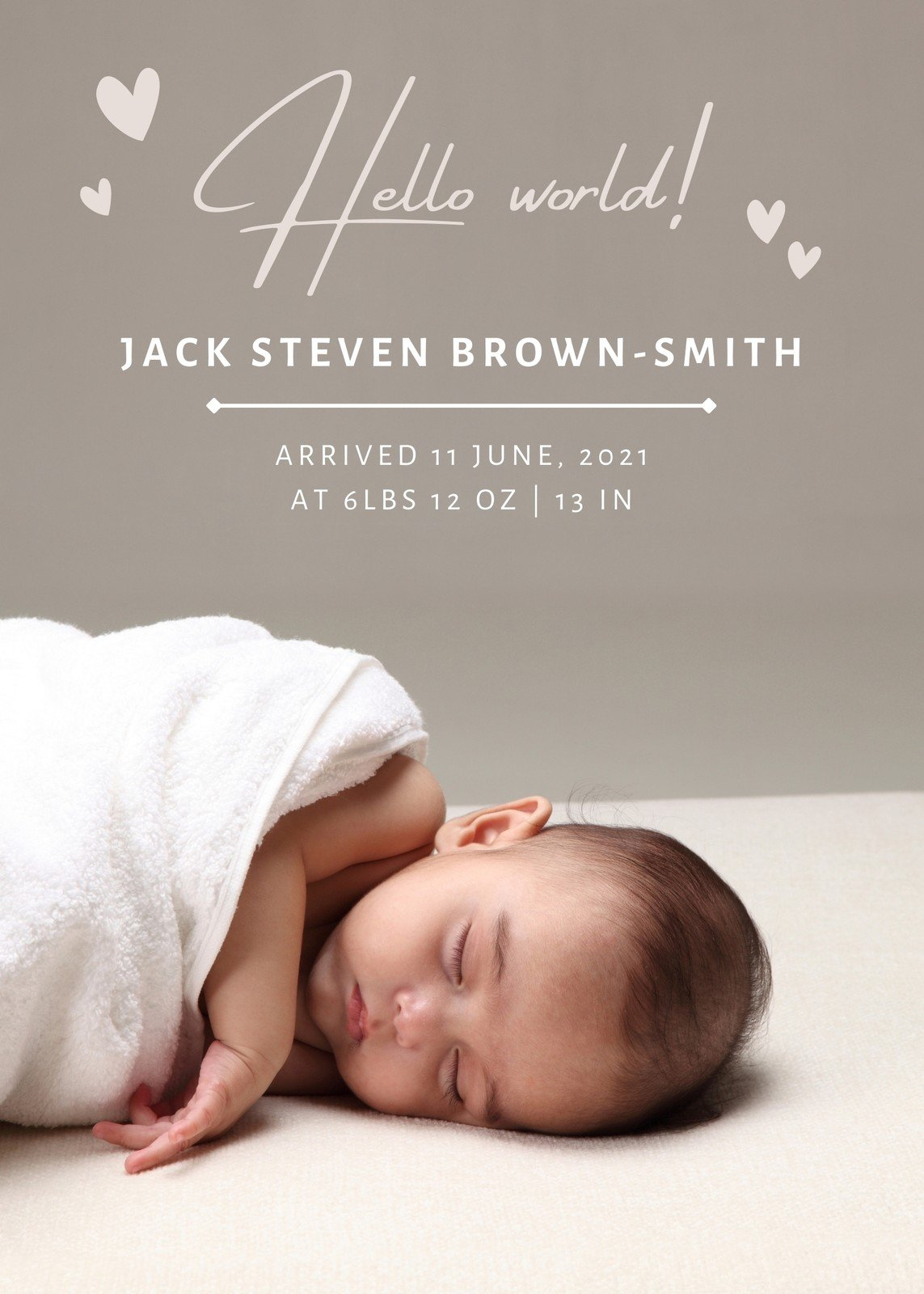 free printable customizable birth announcement templates canva beige neutral baby coloring pages Free Printable Birth Announcement Templates