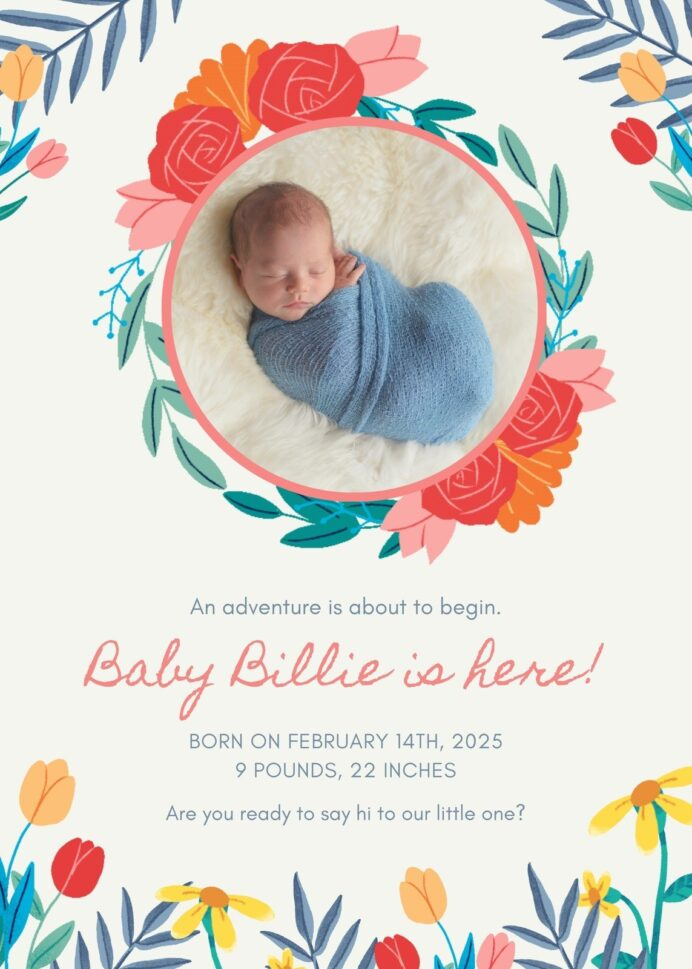 free printable customizable birth announcement templates canva colorful illustration coloring pages Free Printable Birth Announcement Templates
