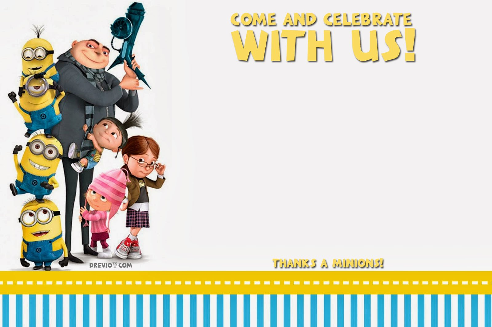 free printable despicable birthday invitation template hundreds templates minions card coloring pages Free Printable Minions Birthday Card