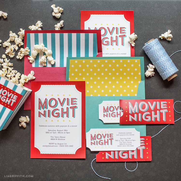 free printable invitations for your next outdoor movie night hollywood themed coloring coloring pages Free Printable Hollywood Themed Invitations