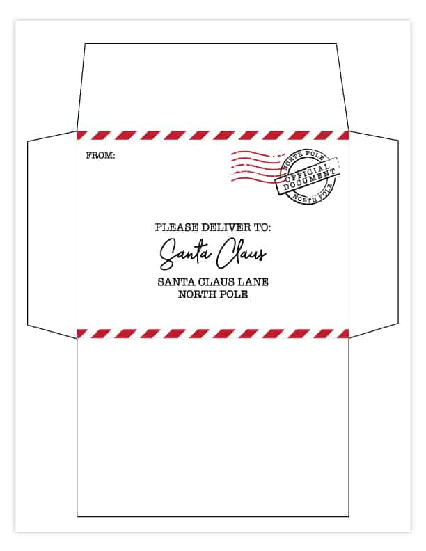free printable letter to santa with matching envelope envelopes north pole claus glitter coloring pages Free Printable Santa Envelopes North Pole