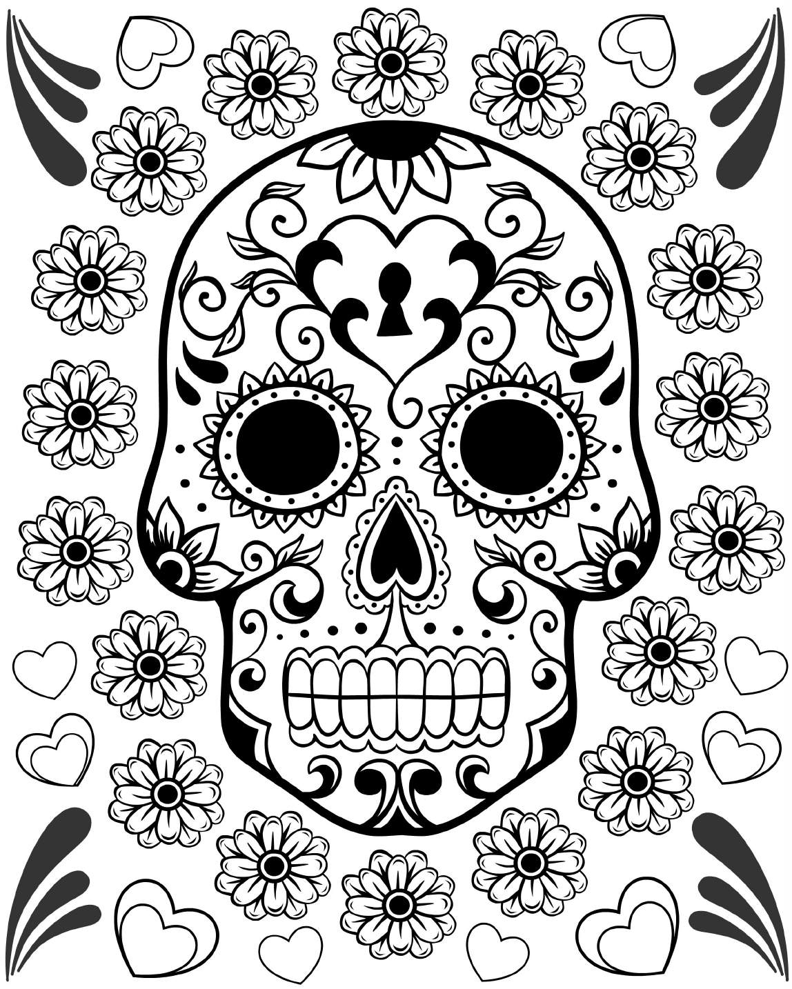 free printable of the coloring best for kids skulls fusha color owl pictures alien monkey coloring pages Day Of The Dead Coloring Page