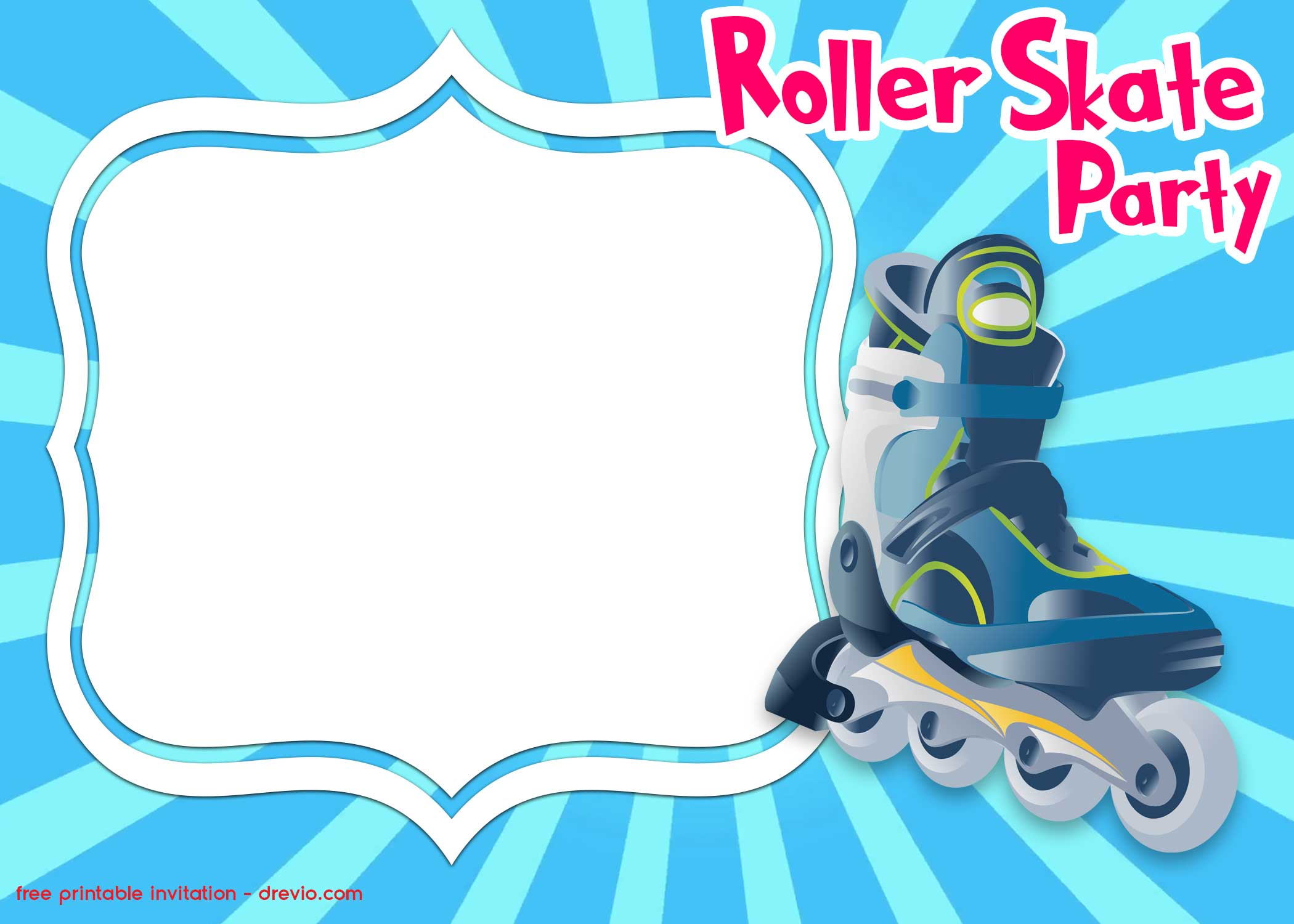 free printable roller skating invitation template hundreds birthday templates party coloring pages Free Printable Skating Party Invitations