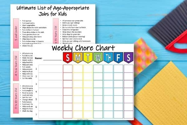 free printable weekly chore chart template for kids mombrite charts multiple children coloring pages Free Printable Chore Charts For Multiple Children