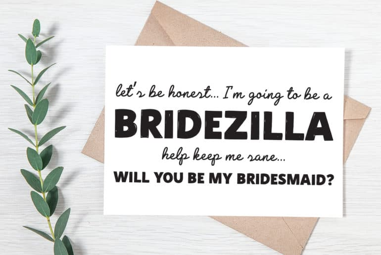 free printable you my bridesmaid cards pjs and paint bridezilla card 770x515 new color coloring pages Free Printable Bridesmaid Cards