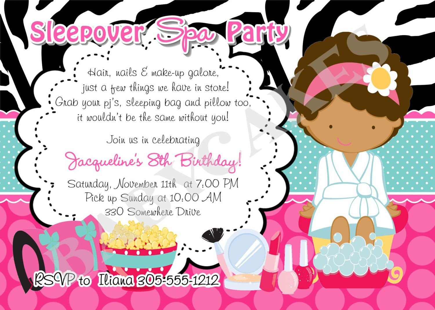free slumber party printable invitations spa birthday halloween print cool pictures to coloring pages Spa Invitations Free Printable