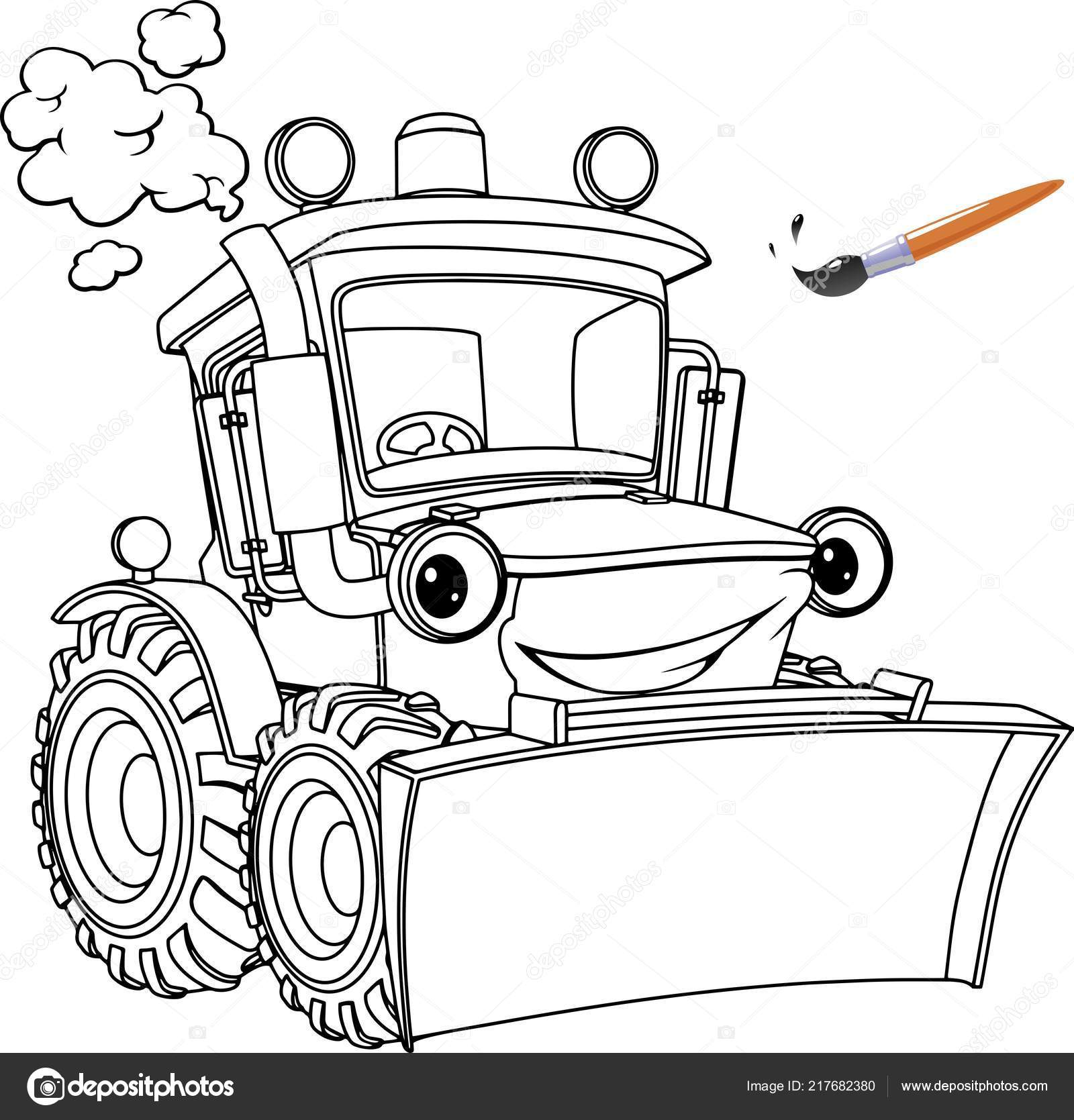 funny tractor bulldozer coloring book design kids children stock vector image by vitd coloring pages Bull Dozer Coloring Page