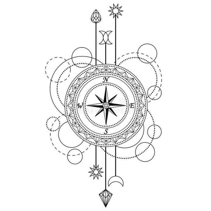 geometric compass pattern stock vector illustration of coloring abstract techno elements coloring pages Compass Coloring Page