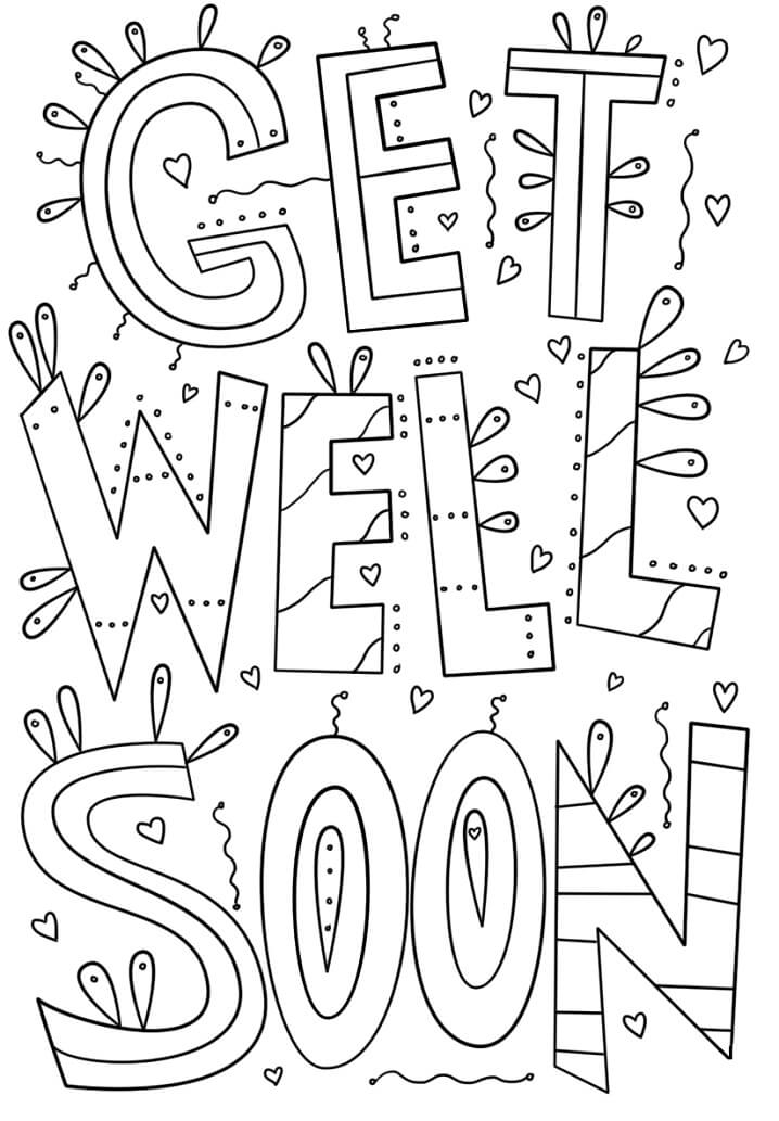 get well soon coloring free printable for kids christmas elf decorations cursive written coloring pages Get Well Coloring Page