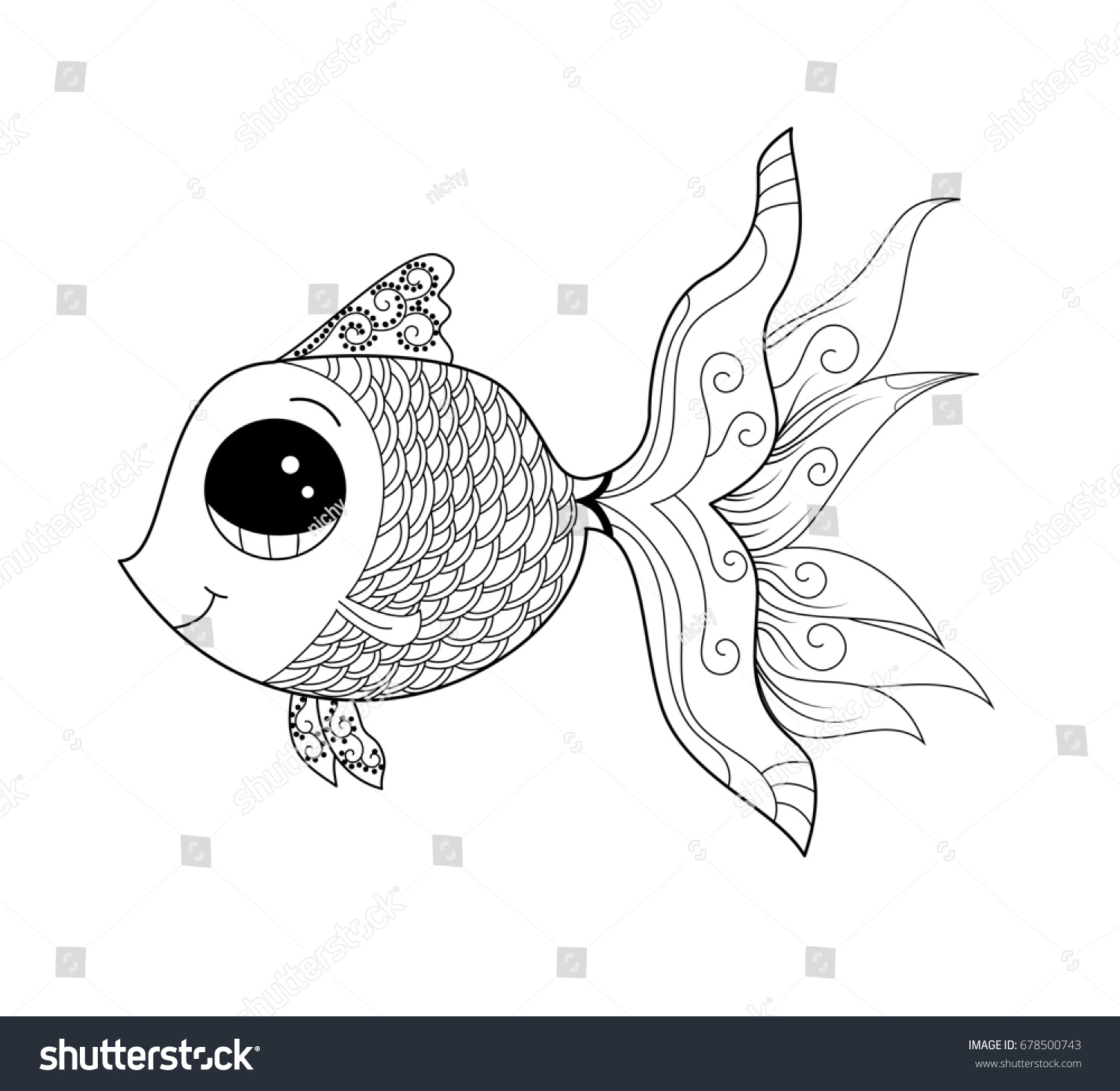 goldfish coloring adult child vector stock royalty free gold fish for and illustration coloring pages Gold Fish Coloring Page