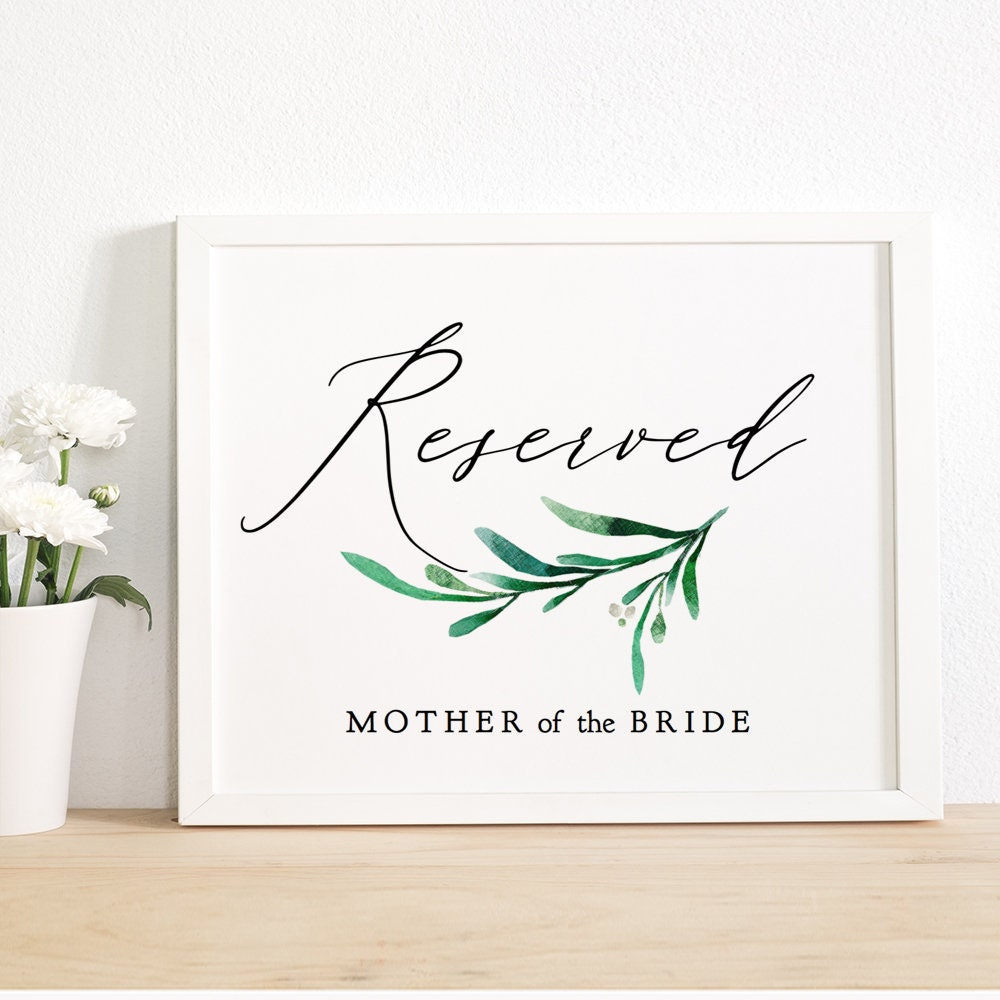 greenery reserved sign printable wedding seating signage 8x10 and 5x7 corjl template free coloring pages Free Printable Reserved Seating Signs