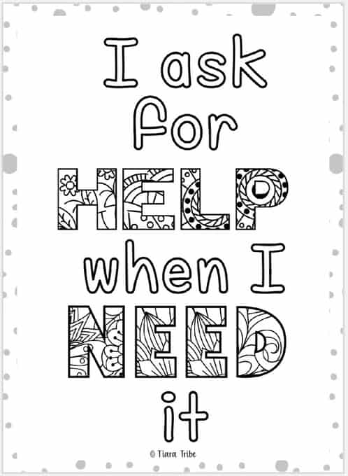 growth mindset coloring immediate ask for help cornucopia sheet multi color world reach coloring pages Growth Mindset Coloring Page
