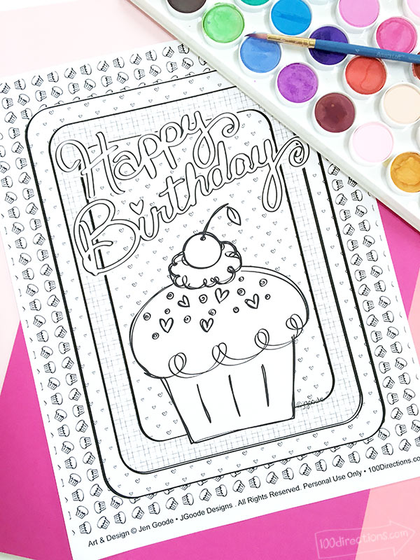 happy birthday cupcake coloring directions jen goode stain is chalking product arrived coloring pages Coloring Page Happy Birthday