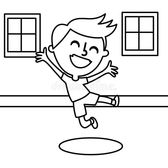 happy boy coloring stock illustration of answer drawn jumping kids cool cars to color for coloring pages Boy Coloring Page