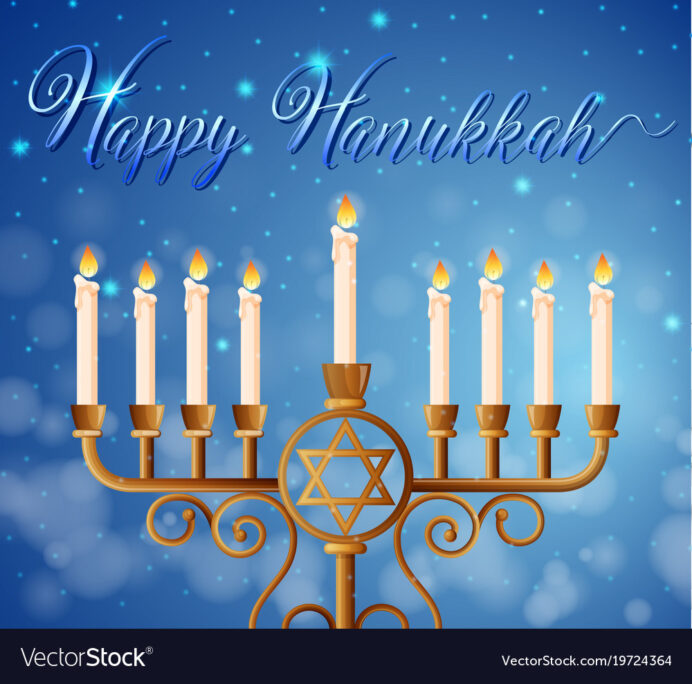 happy hanukkah card template with candlelights vector image free printable cards pokemon coloring pages Free Printable Hanukkah Cards