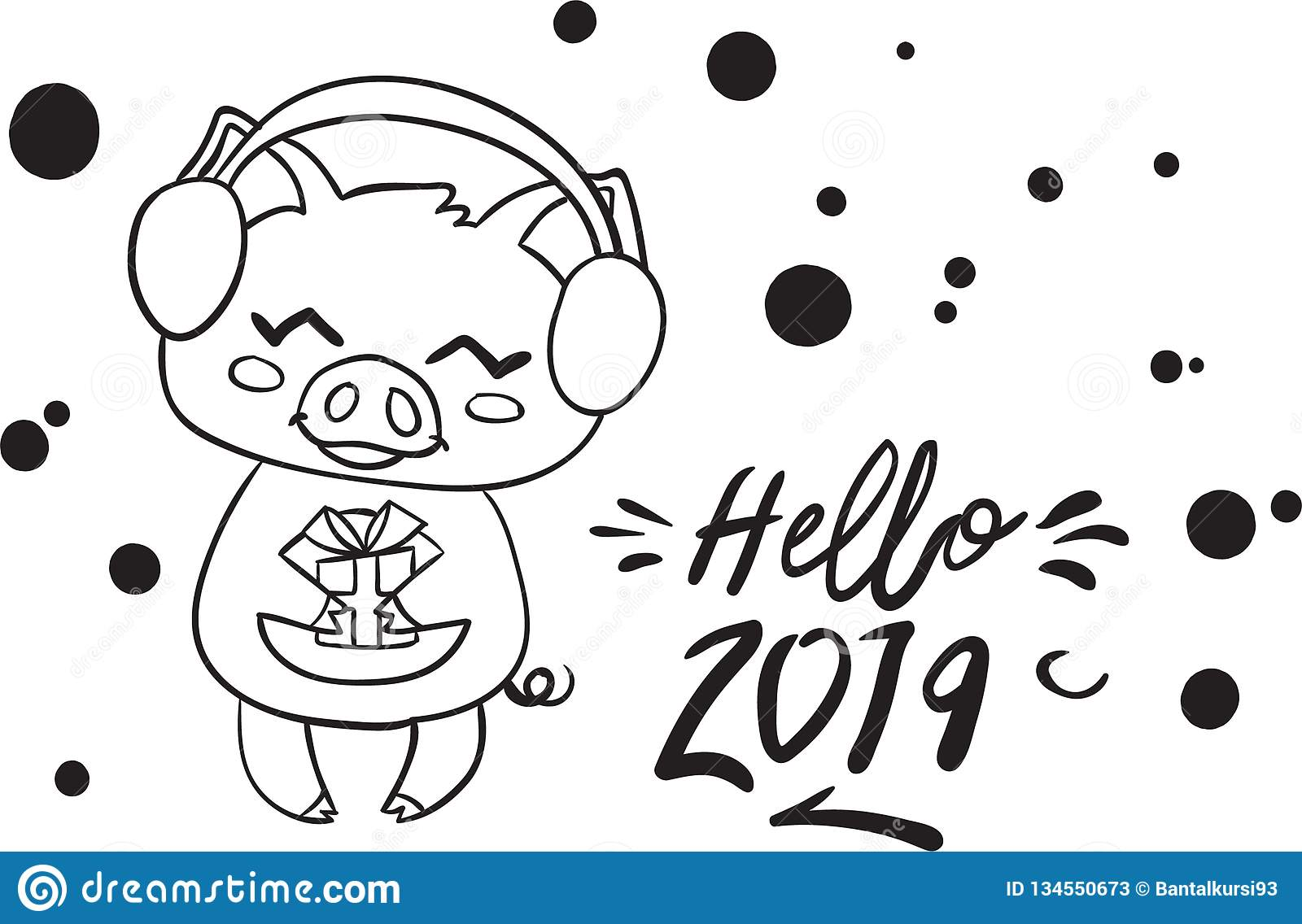 happy new year pig coloring for kid stock vector illustration of animal the holiday coloring pages Year Of The Pig Coloring Page