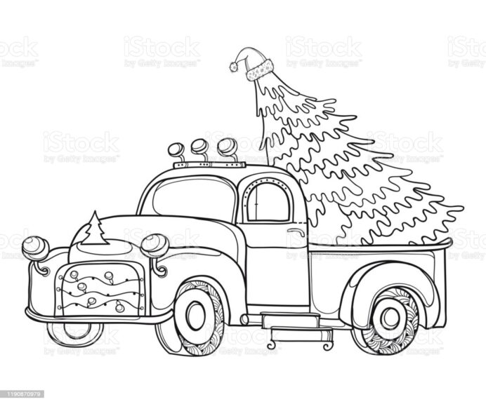 heavy semitruck stock illustration image now christmas truck coloring advengers end game coloring pages Christmas Truck Coloring Page