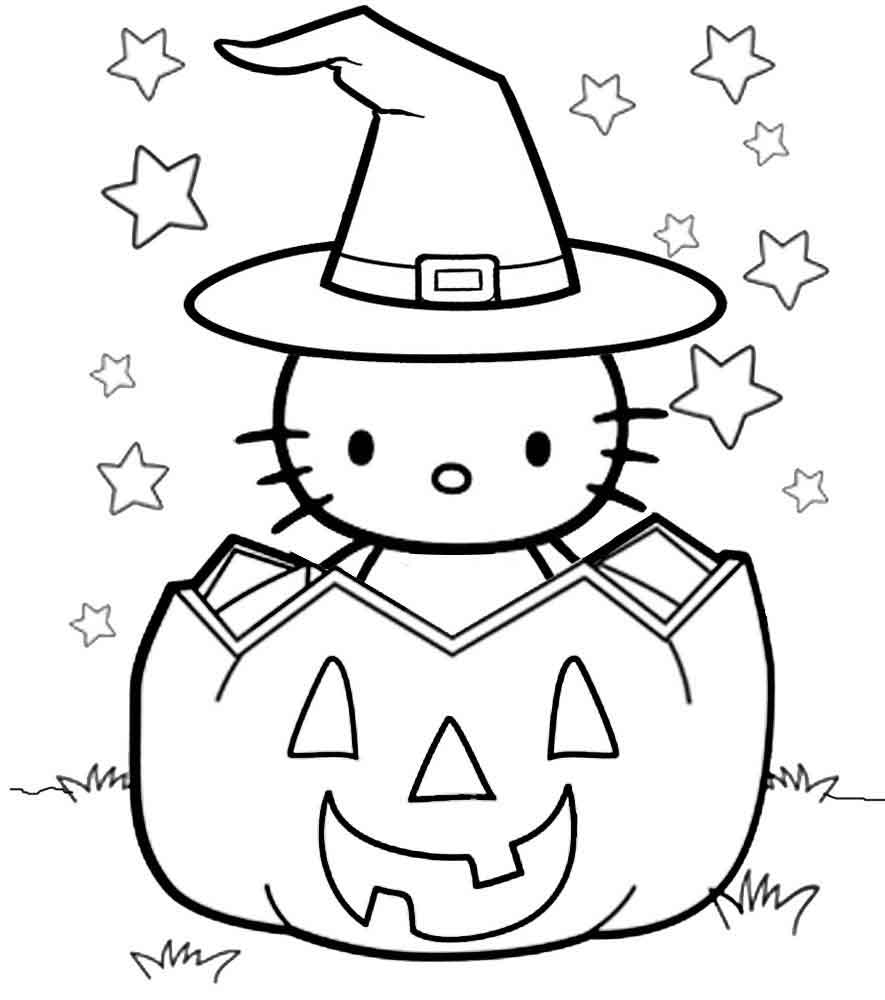 hello kitty halloween coloring best for kids witch in pumpkin paper ideas children crayon coloring pages Hello Kitty Halloween Coloring Page