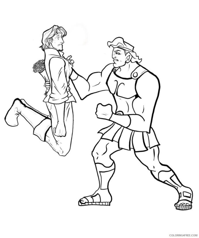 hercules coloring cartoons free printable coloring4free color blue baby get well soon coloring pages Hercules Coloring Page