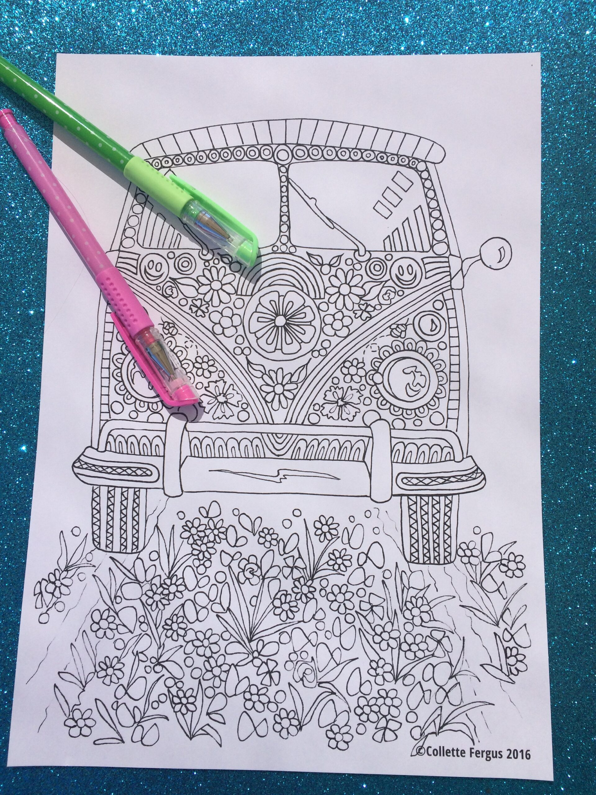 hippie van digital coloring for printing etsy il fullxfull oold cerillium blue mickey coloring pages Hippie Coloring Page