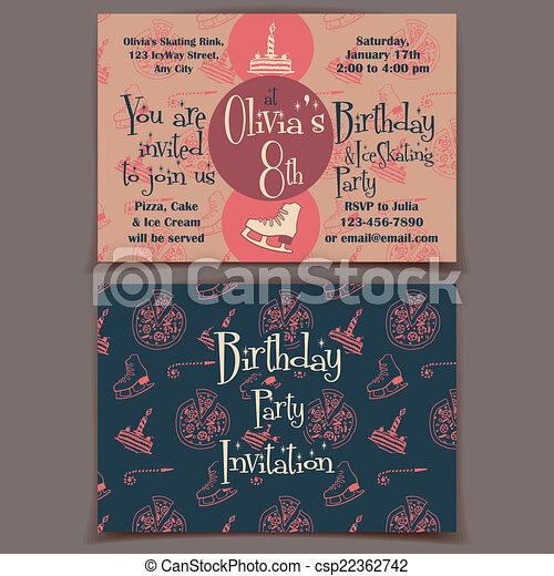 ice skating birthday party invitation cards printable canstock invitations free vector coloring pages Ice Skating Party Invitations Free Printable