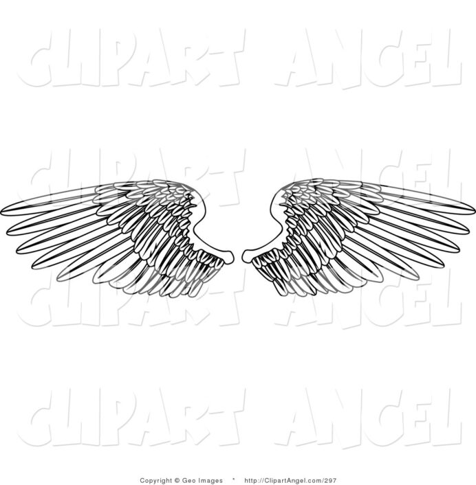 illustration vector of coloring two open feathered wings spread over by coloring pages Angel Wing Coloring Page