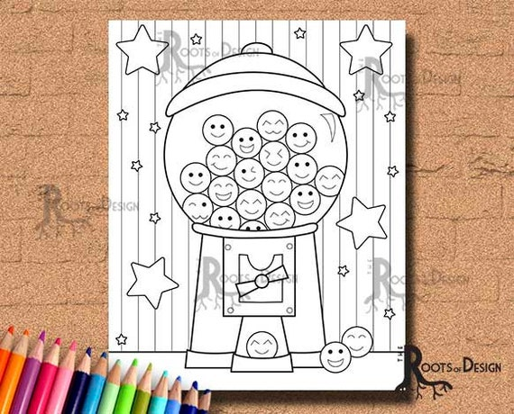 instant coloring gumball machine cutie art etsy bubble gum il 570xn 9okf of unicorn coloring pages Bubble Gum Machine Coloring Page