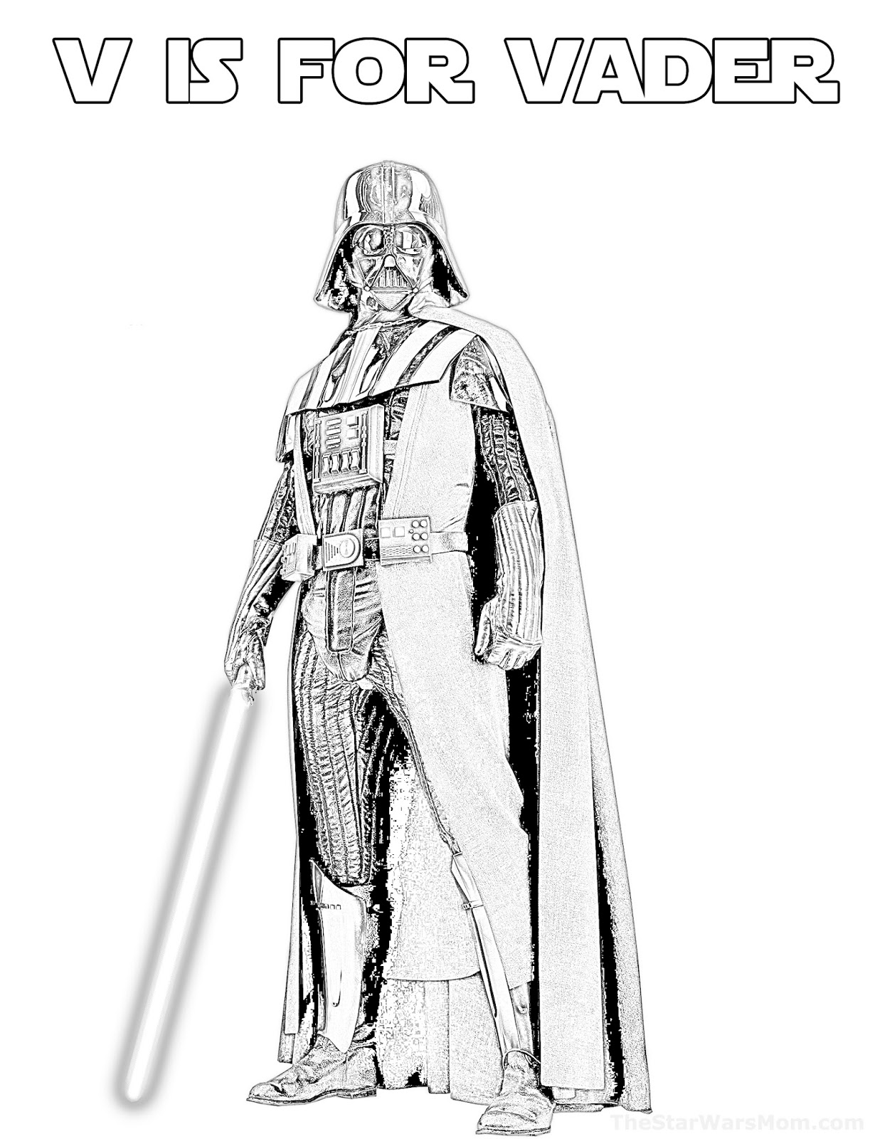 is for vader star wars alphabet coloring the mom parties recipes crafts and printables coloring pages Coloring Page Darth Vader