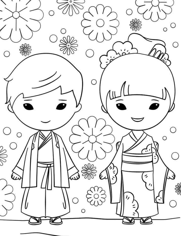 japanese boy and girl coloring free printable for kids princess easter egg wreath crayola coloring pages Boy And Girl Coloring Page