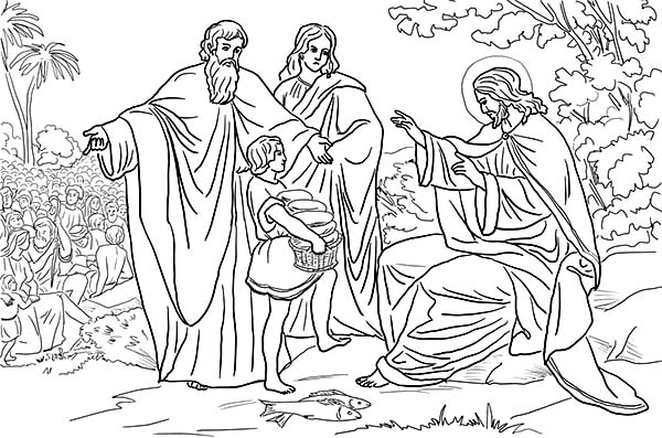 jesus and disciples feeds people coloring sun feeding islam color snowman latern light coloring pages Jesus Feeding 5000 Coloring Page