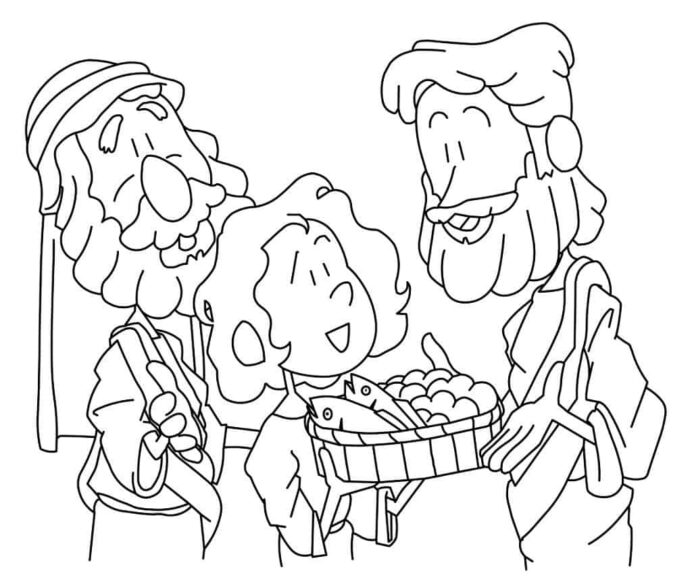 jesus feeds coloring ministry to children 1024x870 cardstock colors fall pictures coloring pages Jesus Fed 5000 Coloring Page