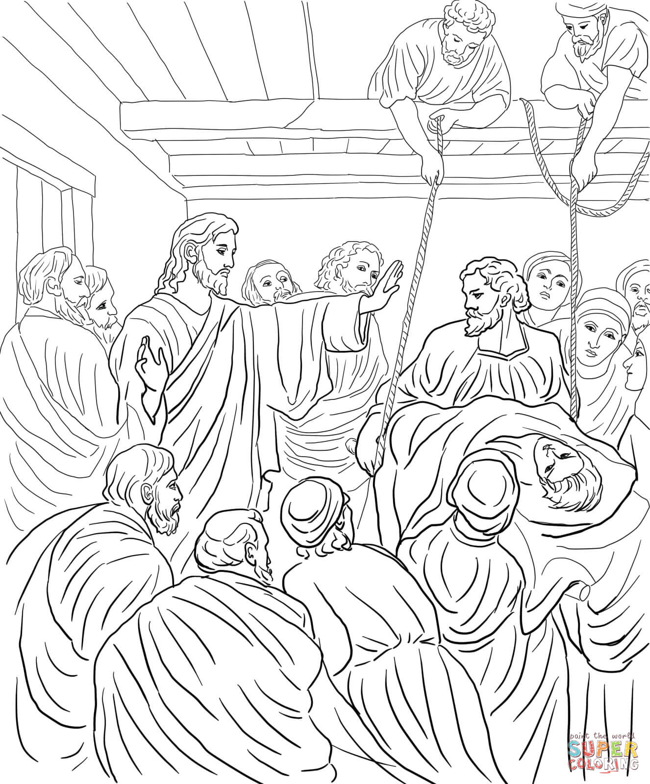 jesus heals the paralyzed man coloring free printable home paralytic rcdrpmrmi sloth helm coloring pages Jesus Heals The Paralytic Man Coloring Page