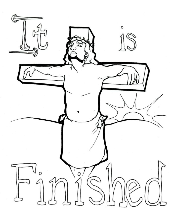 jesus on the coloring crucifix 1024x vintage ornament edge glass thanksgiving photos pdf coloring pages Crucifix Coloring Page