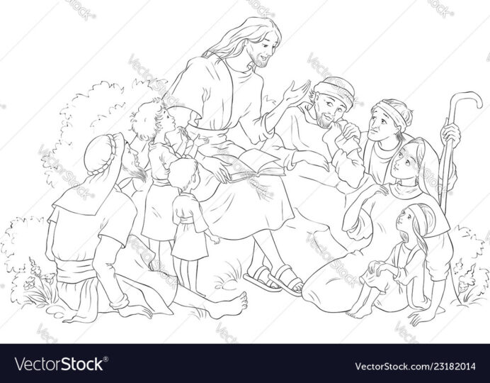 jesus preaching to group people coloring vector image school supplies cheese colors coloring pages People Coloring Page
