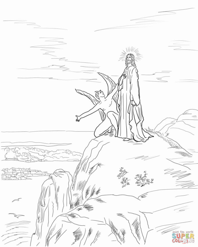 jesus temptation coloring free printable tempted in the desert color jumble snowflake coloring pages Jesus Tempted In The Desert Coloring Page
