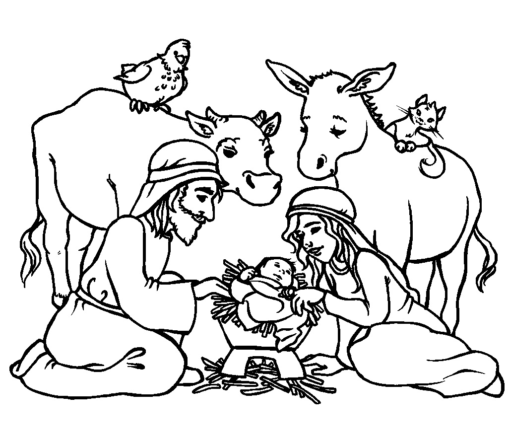 jesus was born coloring free printable for kids birth of baby thanksgiving images to coloring pages Birth Of Jesus Coloring Page