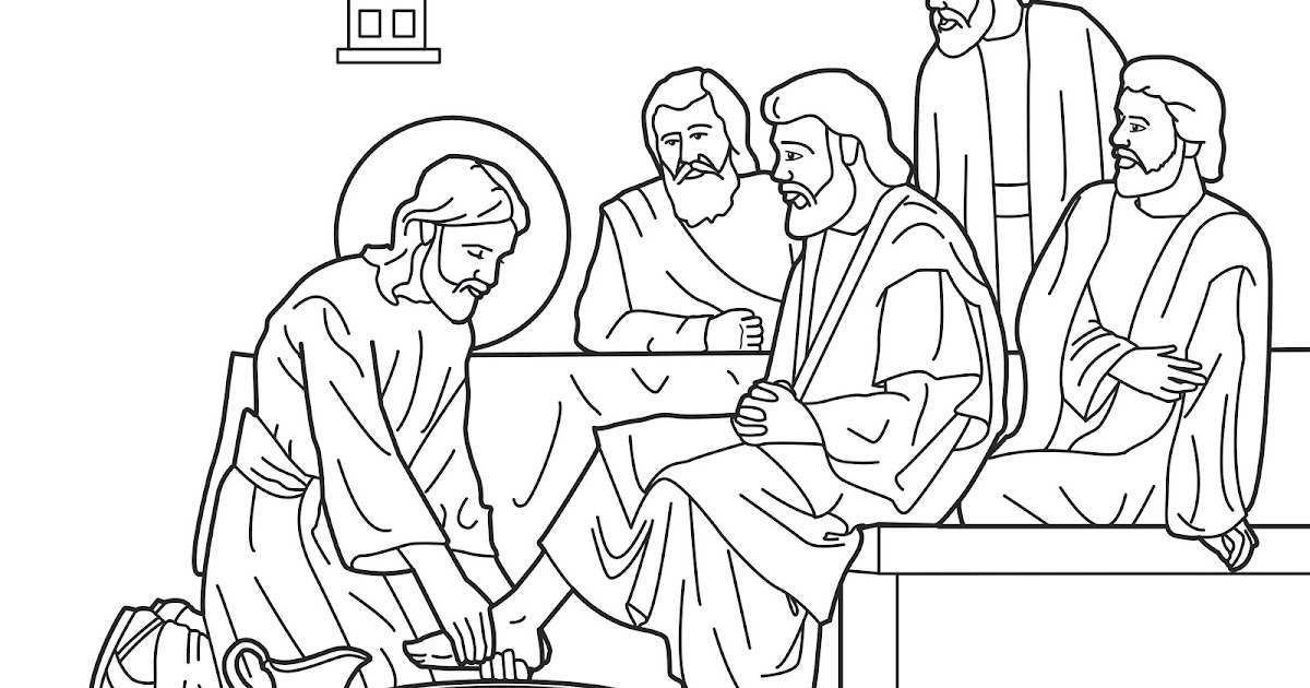 jesus washes his disciples feet coloring remove sharpie from plastic nativity ornament coloring pages Jesus Washes Feet Coloring Page