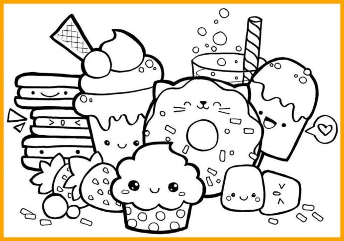 kawaii food coloring pictures best collections whitesbelfast dessert ideas cute at coloring pages Dessert Coloring Page