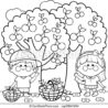 kids picking cherries under the tree vector black and coloring illustration of two coloring pages Cherry Tree Coloring Page