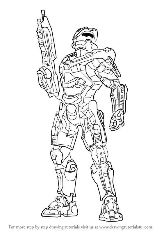 learn to draw master chief from halo step by drawing tutorials drawings avengers coloring coloring pages Master Chief Coloring Page