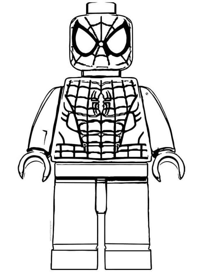 lego spiderman coloring free printable for kids colering november is putty safe halloween coloring pages Lego Spiderman Coloring Page