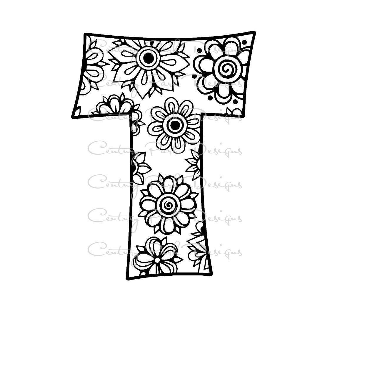 letter alphabet flowers pdf use with silhouette studio and cricut design space co coloring pages Letter T Coloring Page