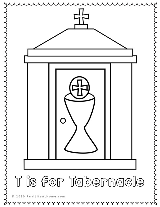 letter catholic of the week worksheets and coloring tabernacle catholicletter hopscotch coloring pages Tabernacle Coloring Page