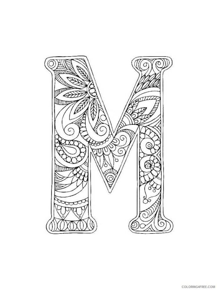 letter coloring alphabet educational of printable coloring4free invisible crayon jasmine coloring pages Letter M Coloring Page