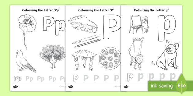 letter coloring par colouring english ver skin tone colored pencils are purple names coloring pages Letter P Coloring Page